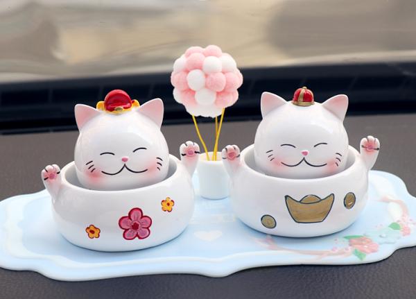 Car Decorations Cat Figurines