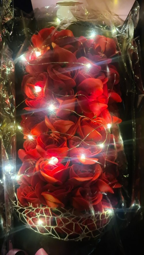 Soap Flowers 51 Red Roses LED