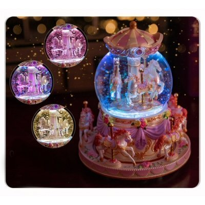 Beautiful Merry-go-round Crystal Ball Music Box