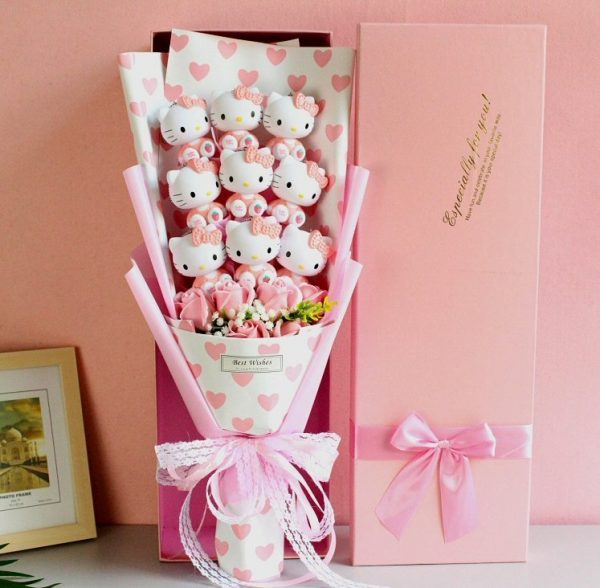 Hello Kitty Dolls Soap Flowers