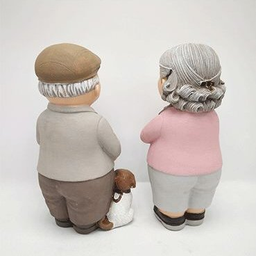 Lovely Elder Figurines With Pets