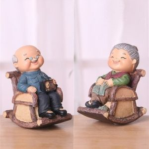 Elder Figurines Relaxing Wooden Chairs