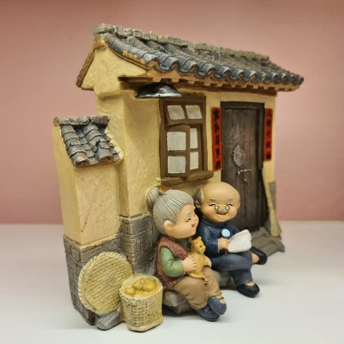 Elder Figurines Wooden House