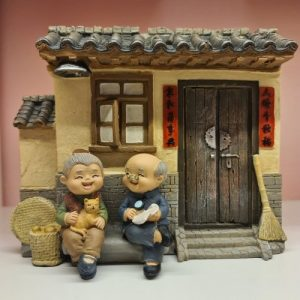 Elder Figurines Traditional Wooden House