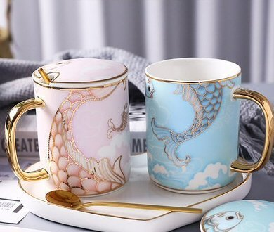 Mermaid Pair Ceramic Cup Gift Box