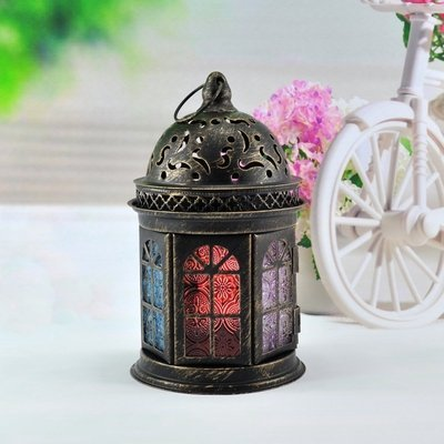 Classic 6 Windows Moroccan Castle Candlestick Holder