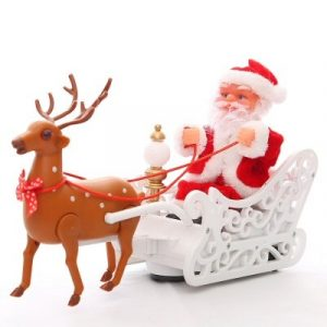 Musical Santa Claus Reindeer Electric Sleigh