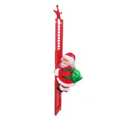 Musical Santa Claus Climbing Stair Red