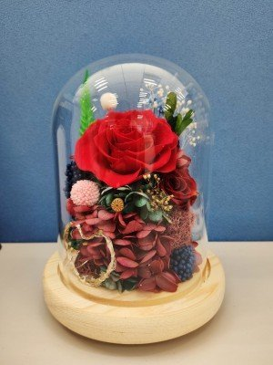 Red Rose Dried Flower Dome