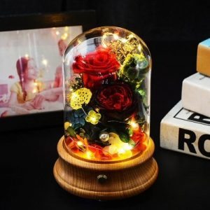 Red Wine Bluetooth Rose Flower Dome