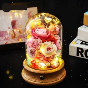 Light Pink Bluetooth Rose Flower Dome