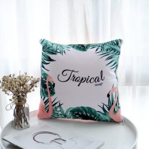 Flamingo Sofa Pillow With Quilt