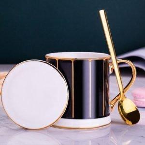 Ceramic Coffee Cup Gold Craft 380ml