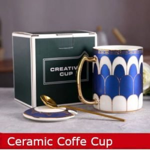 Ceramic Coffee Mug Spoon Saucer 360ml