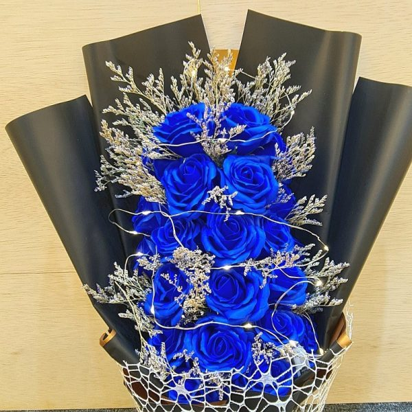 Peacock Blue 25 Soap Flowers Roses