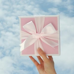 White Ribbon Pink Gift Box