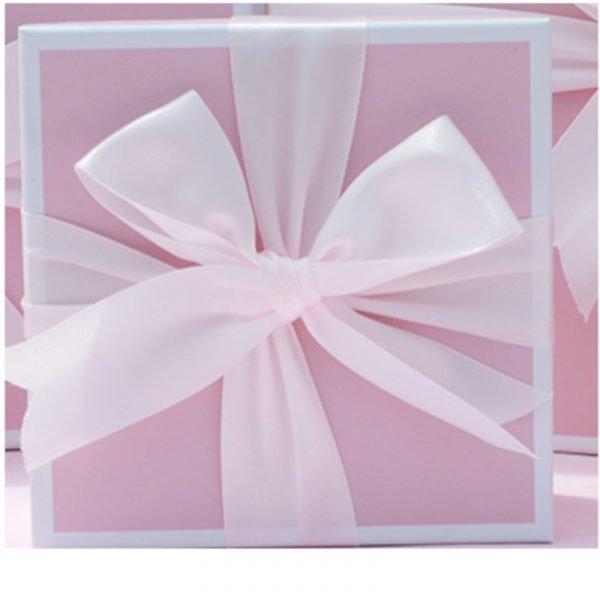 White Ribbon Pink Gift Box