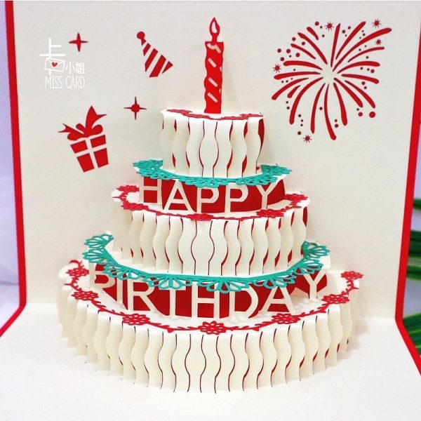 3D Birthday Cake LED Card