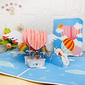 Love Shape Hot Air Balloon Card