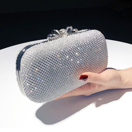 Diamond-studded Glitter Clutch Bag