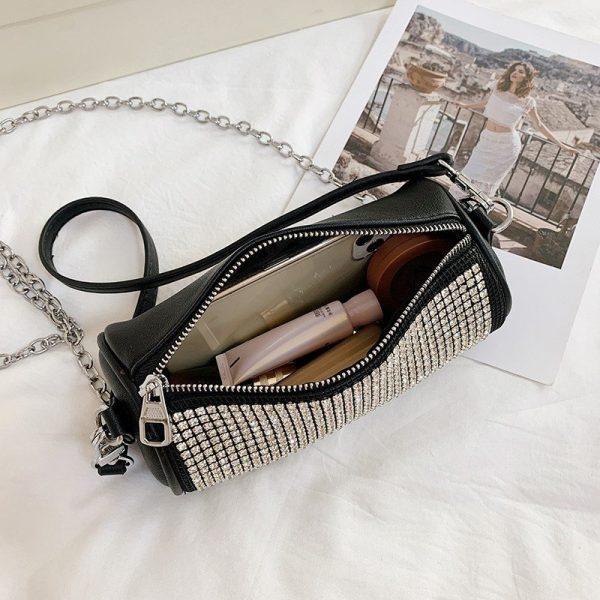Shining Rhinestone Luxury Cylinder Bag