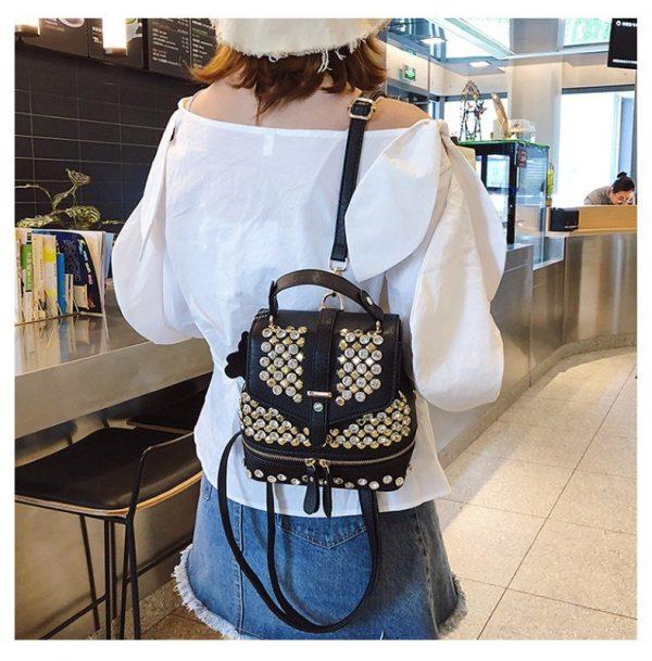 Diamond-studded Shoulder Backpack