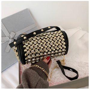 Diagonal Chain Diamond-studded Handbag