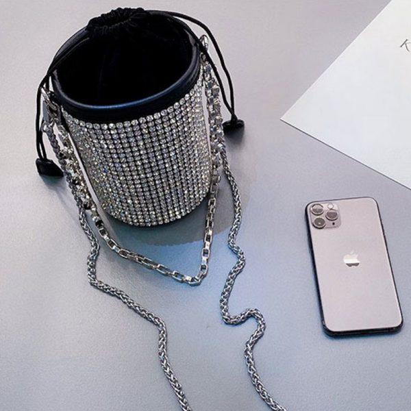 Rhinestone Shoulder Bucket Bag