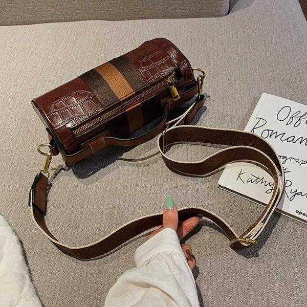 Cylinder PU Leather Handbag
