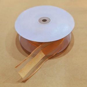Gold Satin Edge Organza 100% Polyester
