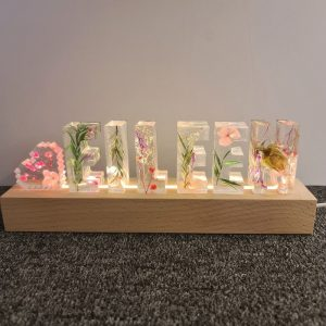 Clear Resin Dried Flowers Letters
