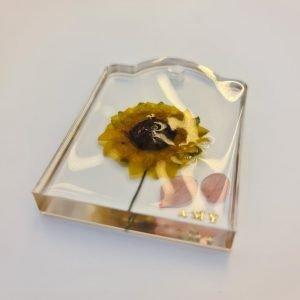 Sunflower Clear Resin Keychain