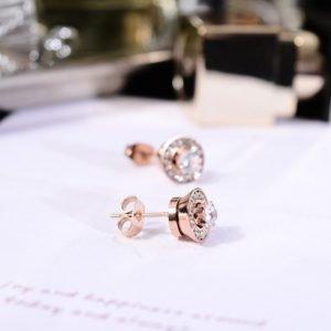 Rose Gold Rotating Diamond Earrings