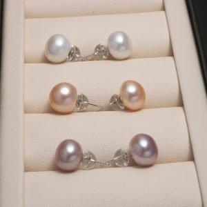 Natural Bead Pearl Earrings 6mm