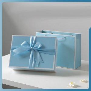 Silk Scarf Blue Gift Box