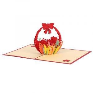 3D Colorful Flowers Basket Card